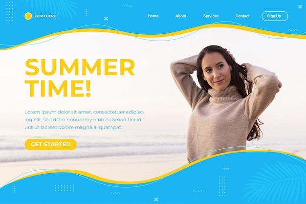 사진이있는 평면 여름 방문 페이지 템플릿