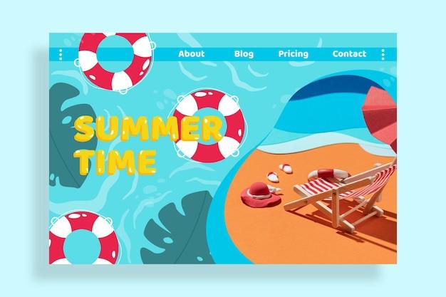 写真付きフラット夏のランディングページテンプレート 無料ベクター