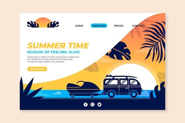 Плоский летний шаблон целевой страницы