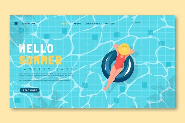 플랫 여름 방문 페이지 템플릿