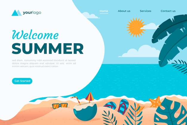 Flat summer landing page template