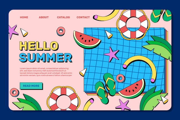Flat summer landing page template