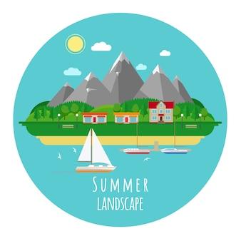 山と海の平らな夏の風景イラスト。家と町、暑くて暑い