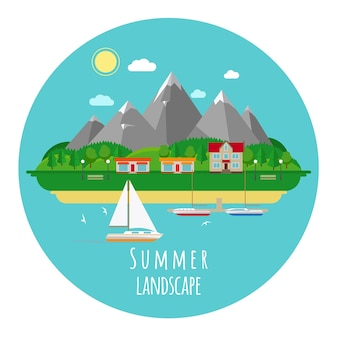 Flat summer landscape illustration with mountains and sea. house and town, heat and hot