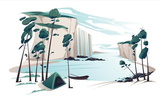 Flat summer landscape illustration with waterfall, river, mountains, pines, tent and boat on blue clouded sky. nature view.