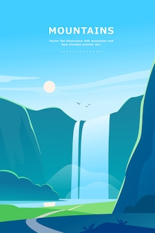 Flat summer landscape illustration with waterfall, river, mountains, sun, forest on blue clouded sky.