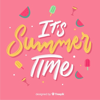 Flat summer lettering background with food