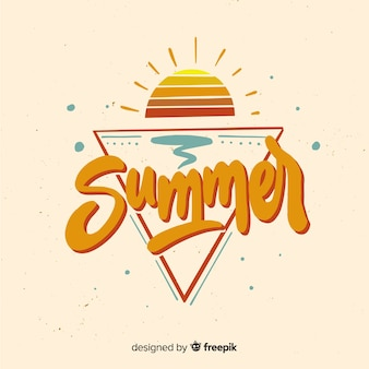 Flat summer lettering background with sunset
