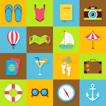 평면 여름 개체 집합입니다. 벡터 휴가 및 여름 휴가 바다 아이콘