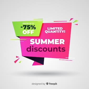 Flat summer origami sale banner