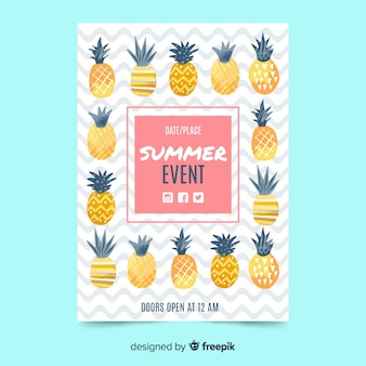 Flat summer party poster pineapples