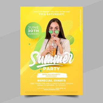 Flat summer party poster template with photo