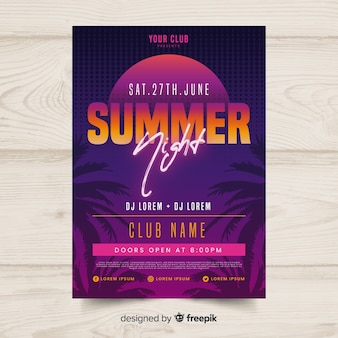 Flat summer party poster template