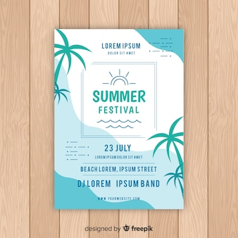 Flat summer party poster