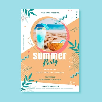 Flat summer party vertical poster template with photo