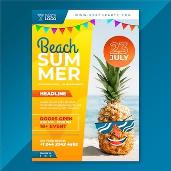 Плоская летняя вечеринка вертикальный шаблон плаката с фото