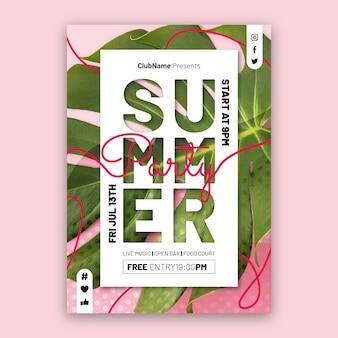 사진이있는 평면 여름 파티 세로 포스터 템플릿 프리미엄 벡터