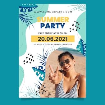 Плоская летняя вечеринка вертикальный шаблон плаката с фотографией