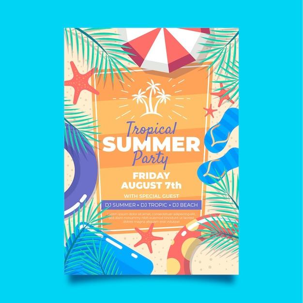 Flat summer party vertical poster template