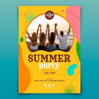 평면 여름 파티 수직 포스터 템플릿
