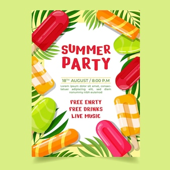 Flat summer party vertical poster template
