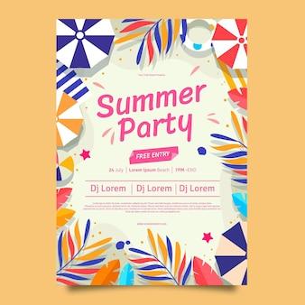 평면 여름 파티 수직 포스터 템플릿 무료 벡터