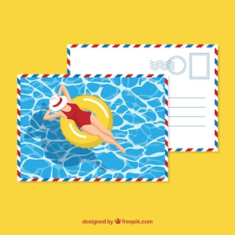 Flat summer postal template with woman on inflatable ring