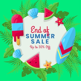 Flat summer sale background with tropical background