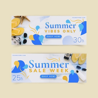 Flat summer sale banner template with photo