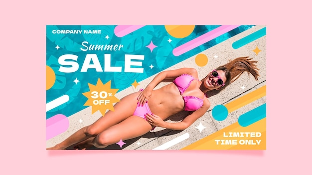 사진 플랫 여름 판매 배너 서식 파일