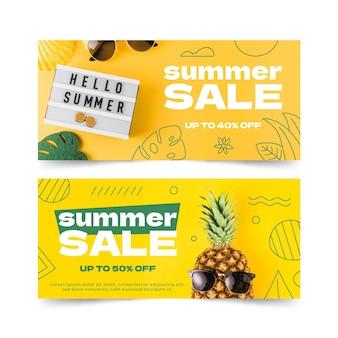 Плоский шаблон летней распродажи с фото