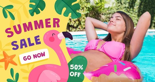 Плоская летняя распродажа баннер с фото