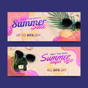 Flat summer sale banner with photo