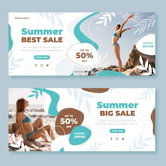 Flat summer sale banners set with photo