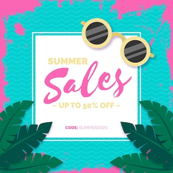 Flat summer sale concept