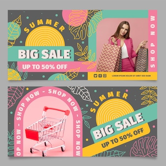 Flat summer sale horizontal banner template with photo