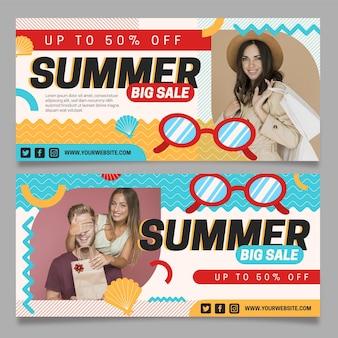Modello di banner orizzontale di vendita estiva piatta con foto