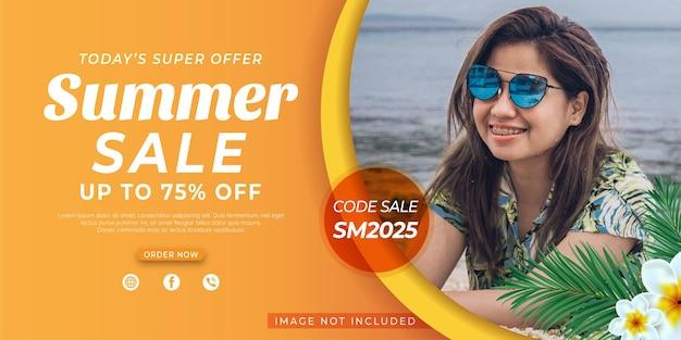 Flat summer sale horizontal banner template