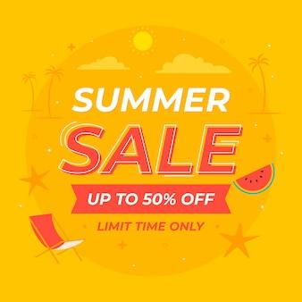 Плоская летняя распродажа иллюстрация Бесплатные векторы