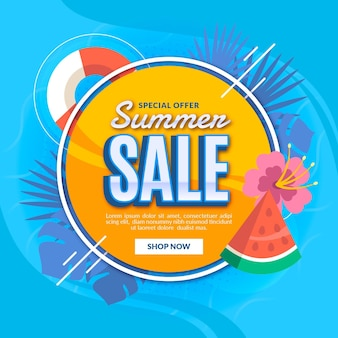 Illustrazione di vendita estiva piatta