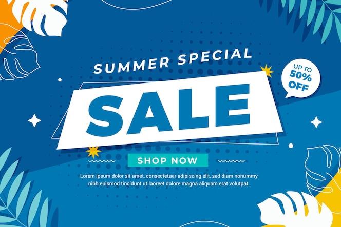 Flat summer sale illustration