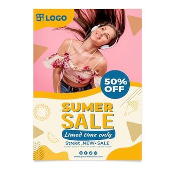 Flat summer sale vertical flyer template