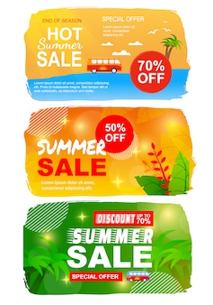 Flat summer sales banner set with best seasonal offers.