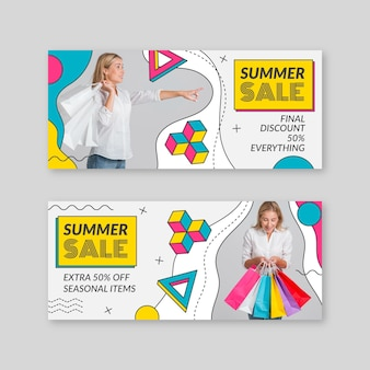 Flat summer sales banners with photo