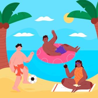 海辺の平らな夏のシーン