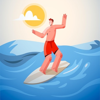 Flat summer scene with surfer