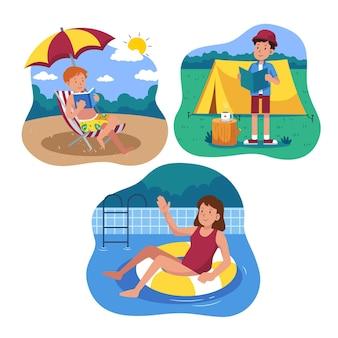 Pacchetto di scene estive piatte illustrato