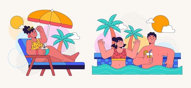 平らな夏のシーン
