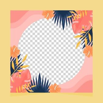 Flat summer social media frame template
