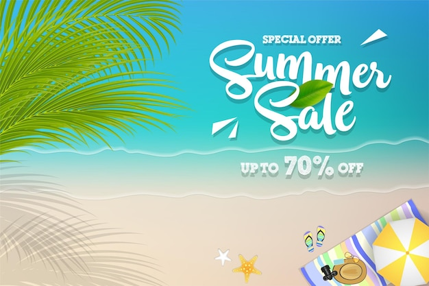 Flat summer time banner with beach vacation